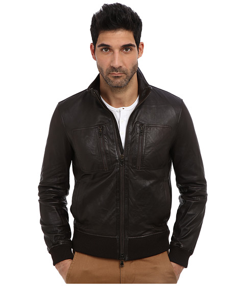 John Varvatos Star U.S.A. - Leather Aviator Jacket L720Q3B (Dark Brown) Men