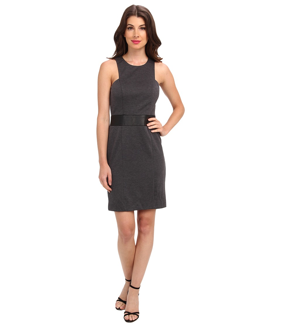 Nicole Miller Lexi Ponte w/ Vegan Leather Dress (Charcoal) Women