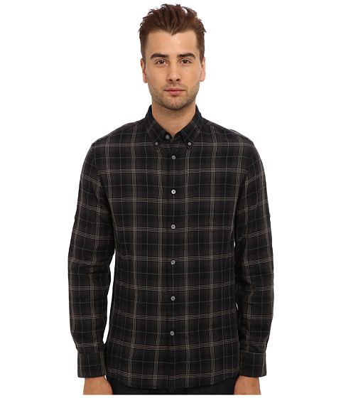 John Varvatos Star U.S.A. - Roll Up Sleeve Shirt w/ Button Down Collar W387Q3B (Black) Men's Long Sleeve Button Up