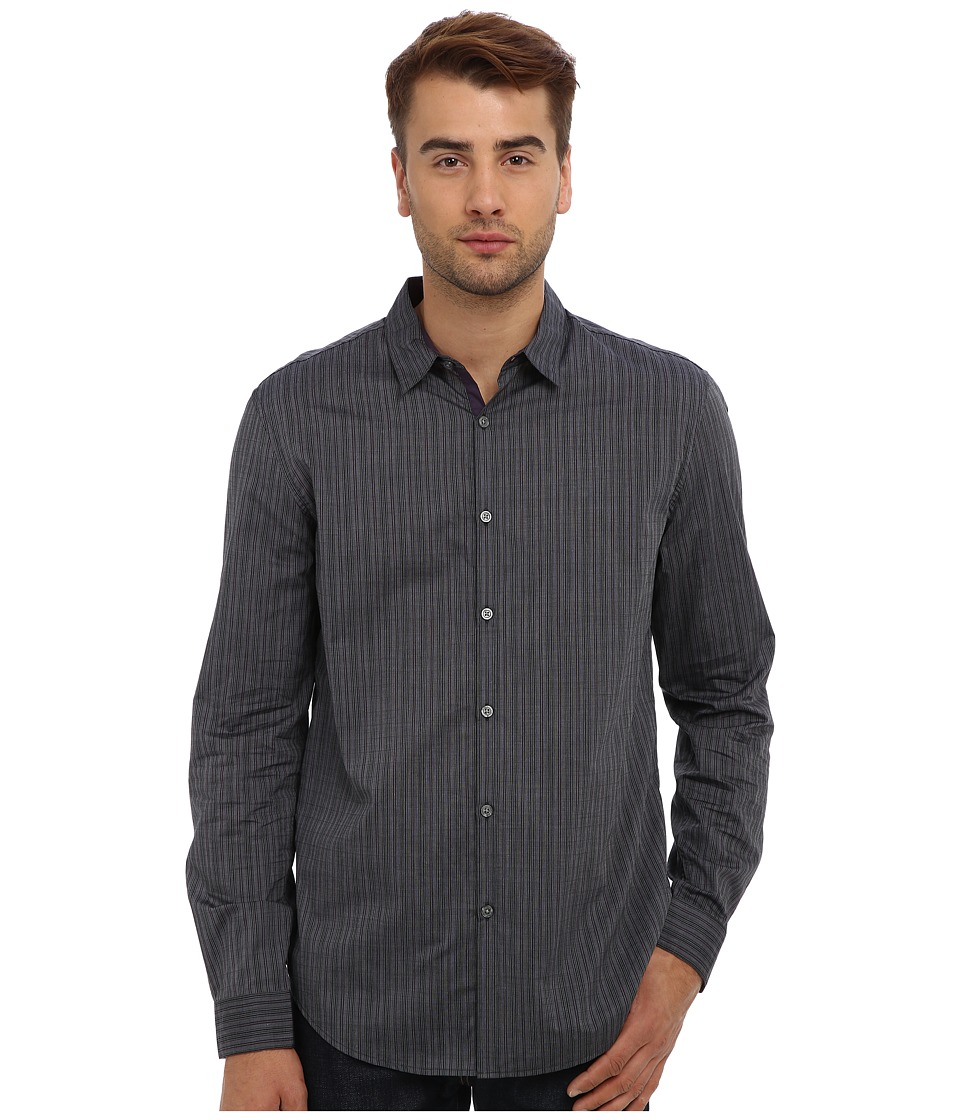 John Varvatos Star U.S.A. - Slim Fit Turnback Placket w/ Contrast Interior Shirt W434Q3L (Navy) Men's Clothing