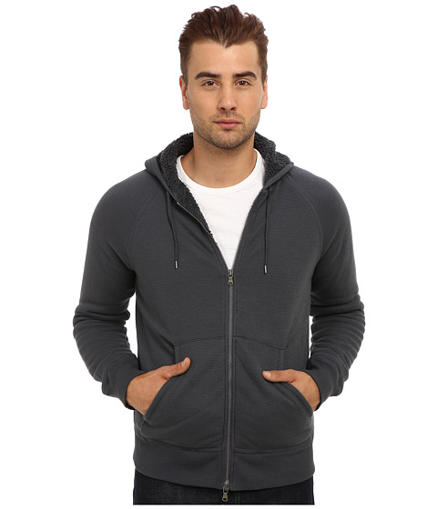 John Varvatos Star U.S.A. - Zip Front Fleece Lined Knit Hoodie w/ Split Kangaroo Pocket K617Q3B (Shadow) Men's Sweatshirt
