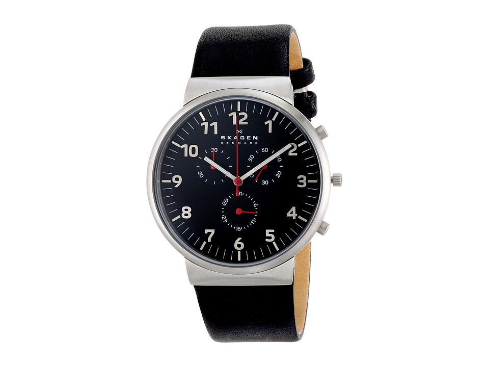 Skagen - Ancher Leather Chronograph (Black) Analog Watches