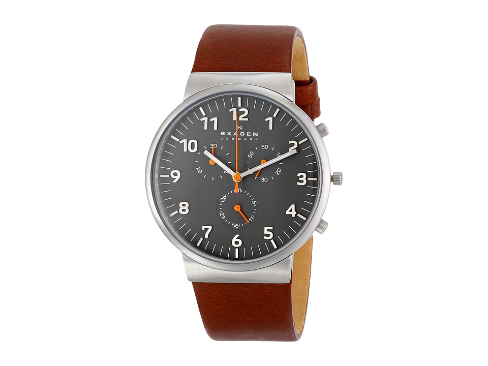 Skagen - Ancher Leather Chronograph (Brown) Analog Watches