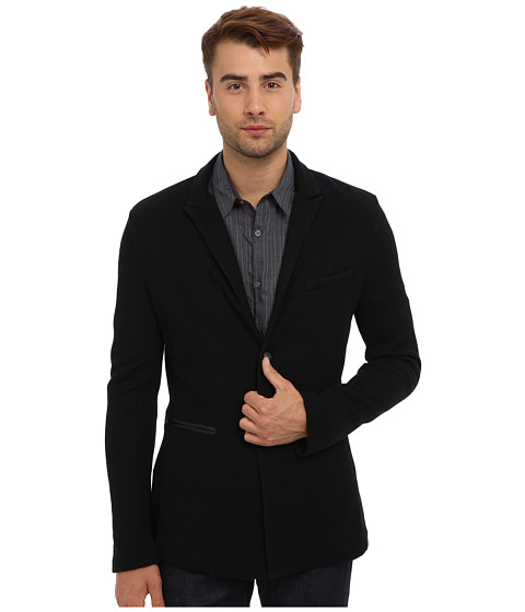John Varvatos Star U.S.A. - 2B Peak Lapel Knit Jacket w/ Leather Piping K2037Q3L (Black) Men's Jacket