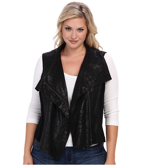 TWO by Vince Camuto - Plus Size Animal Ponte Asymmetrical Vest (Rich Black) Women