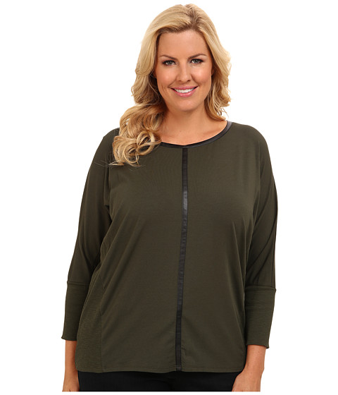 TWO by Vince Camuto - Plus Size Jersey Saturday Shirt w/ Pleather Trim (Dark Leaf) Women