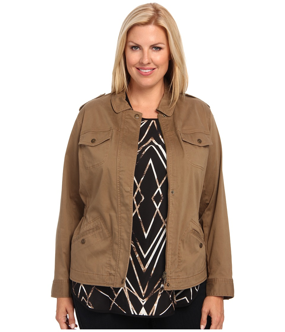 TWO by Vince Camuto - Plus Size Washed Sateen Jacket w/ Front Pockets (Caribou) Women