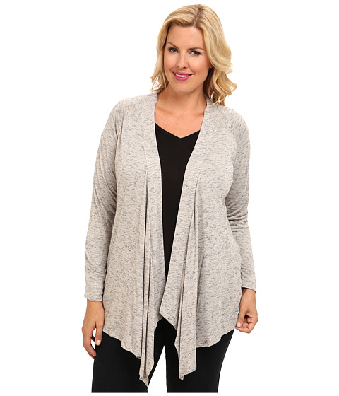 TWO by Vince Camuto - Plus Size Melange Jersey Drape Front Cardigan (Tan Melange) Women