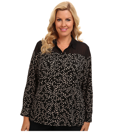 TWO by Vince Camuto - Plus Size Tossed Crescent Blouse (Rich Black) Women's Blouse