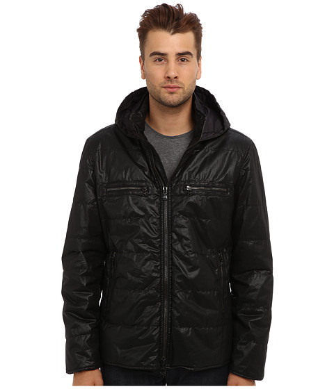 John Varvatos Star U.S.A. - Quilted Puffer Double Collar Hoodie with Contrast Trims O920Q3B (Black) Men's Coat