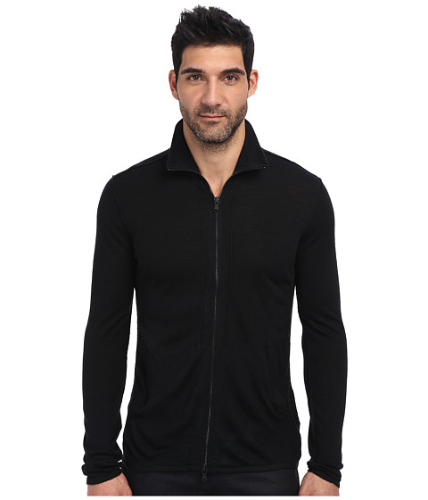 John Varvatos Star U.S.A. - Zip Front Half Turtle Neck Sweater Y711Q3B (Black) Men's Sweater