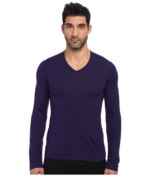 John Varvatos Star U.S.A. - Long Sleeve V-Neck Sweater w/ Pintuck Details Y715Q3B (Purple) Men's Sweater