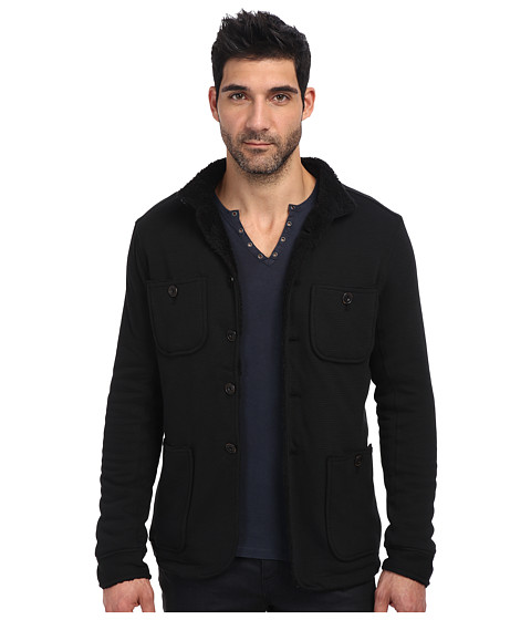John Varvatos Star U.S.A. - Fleece Lined Patch Pocket Knit Jacket K615Q3B (Black) Men's Coat