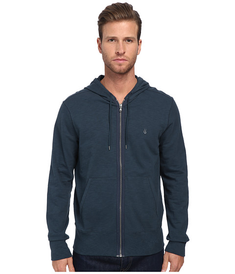 John Varvatos Star U.S.A. - Long Sleeve Zip Front Peace Sign Hoodie w/ Split Kagaroo Pocket K1713Q3B (Lake) Men