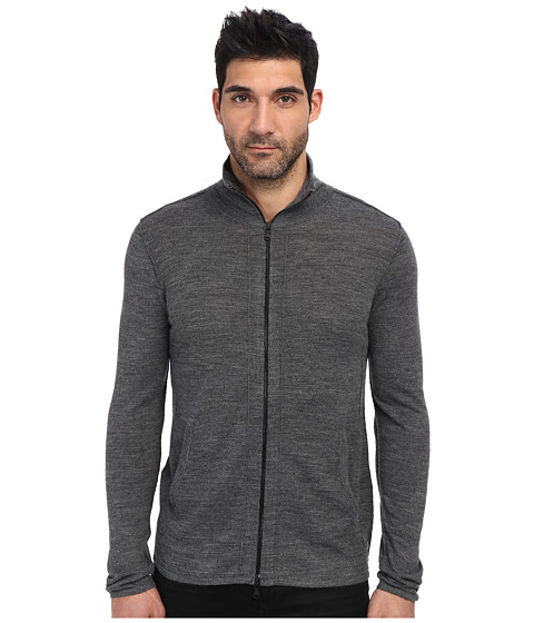 John Varvatos Star U.S.A. - Zip Front Half Turtle Neck Sweater Y711Q3B (Grey Jaspe) Men