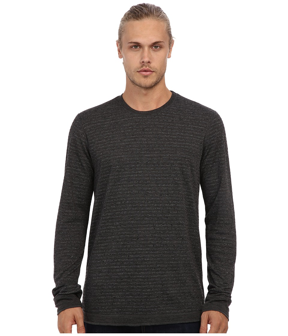 Velvet by Graham & Spencer - Alfie L/S Stripe Double Fold Crew Neck Top (Black) Men's Long Sleeve Pullover
