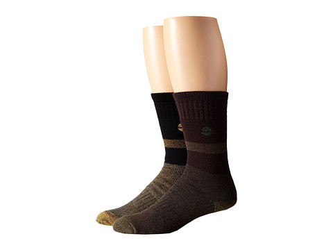 Timberland - TM31369 10 Boot 2-Pair Pack (Black/Brown) Men's Crew Cut Socks Shoes
