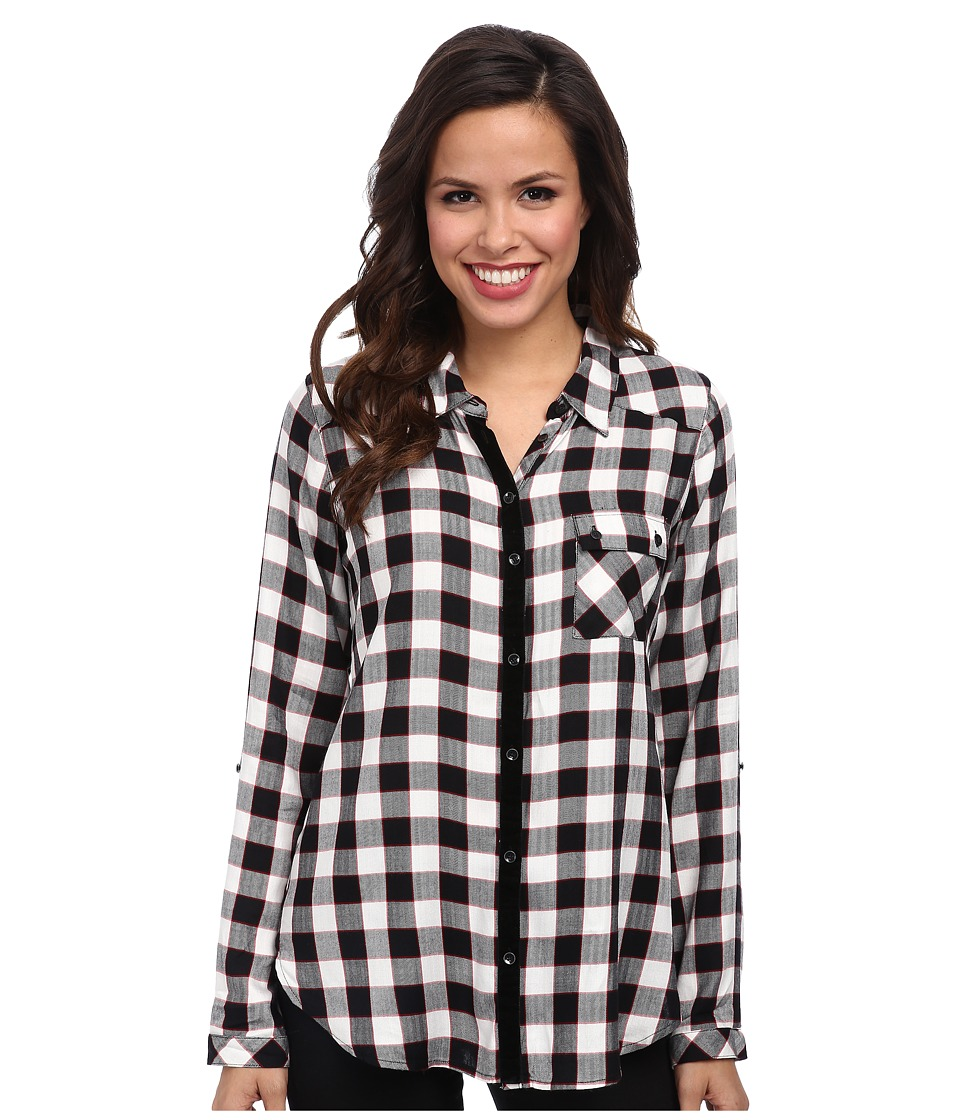 C&C California - One-Pocket Shirt w/ Yoke Detail (Black) Women's Long Sleeve Button Up