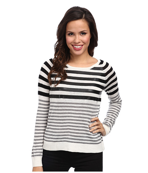 C&C California - Stripe Sweater w/ Faux Leather Detail (White) Women's Sweater
