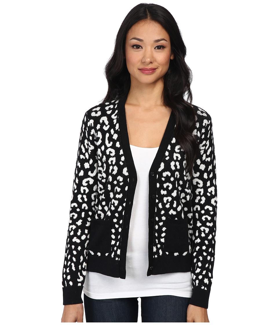 C&C California - Leopard Jacquard Cardigan (Black) Women's Sweater