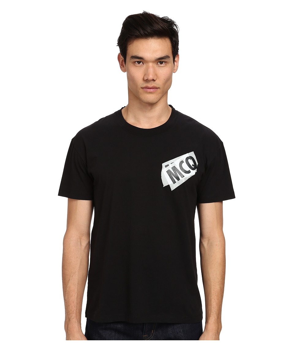 McQ - Logo Dropped Shoulder Tee (Darkest Black) Men's T Shirt
