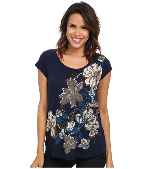 Lucky Brand - Cascading Floral Top (American Navy) Women