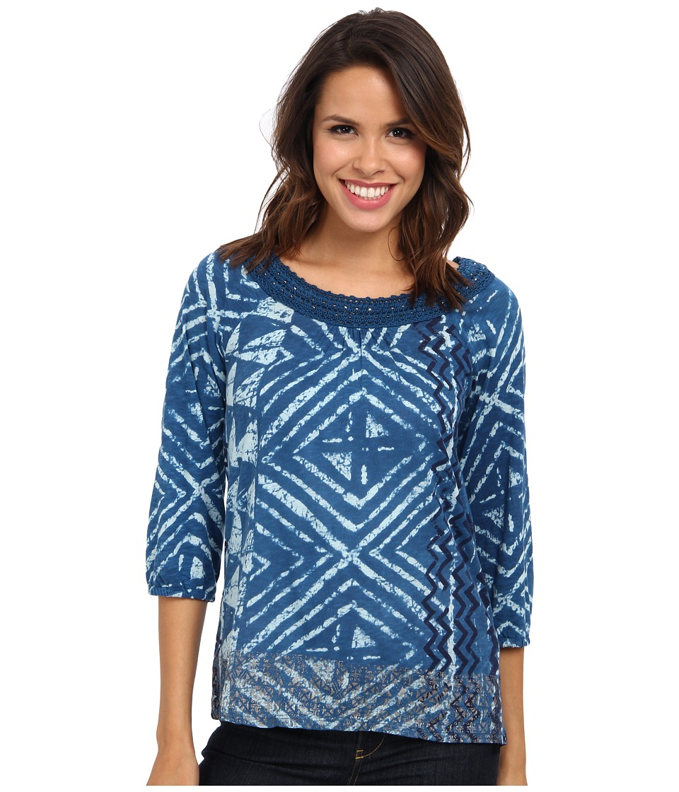 Lucky Brand - Crochet Trim Top (Blue Multi) Women's T Shirt