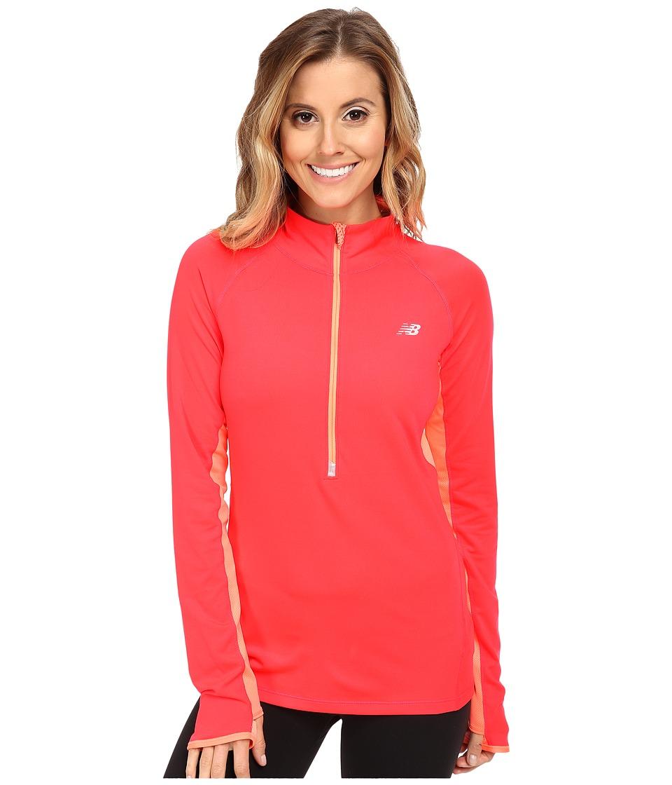 New Balance - Impact 1/2 Zip (Bright Cherry) Women's Sweatshirt