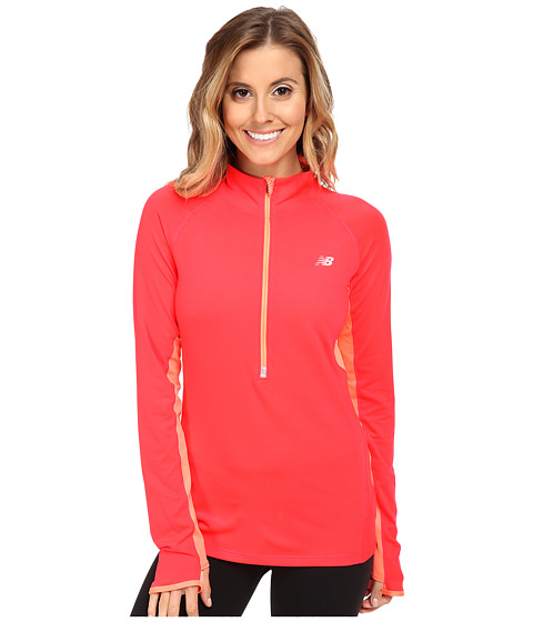 New Balance - Impact 1/2 Zip (Bright Cherry) Women's Sweatshirt