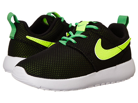 Nike Kids - Roshe Run (Toddler/Little Kid) (Black/White/Light Green Spark/Volt) Boys Shoes