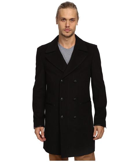 John Varvatos Star U.S.A. - Double Breasted Peak Lapel Top Coat O114Q3L (Black) Men