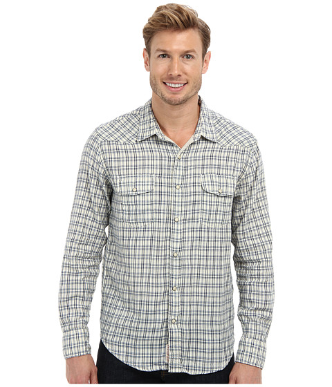 Lucky Brand - Cascade Western Shirt (Blue Plaid) Men's Long Sleeve Button Up