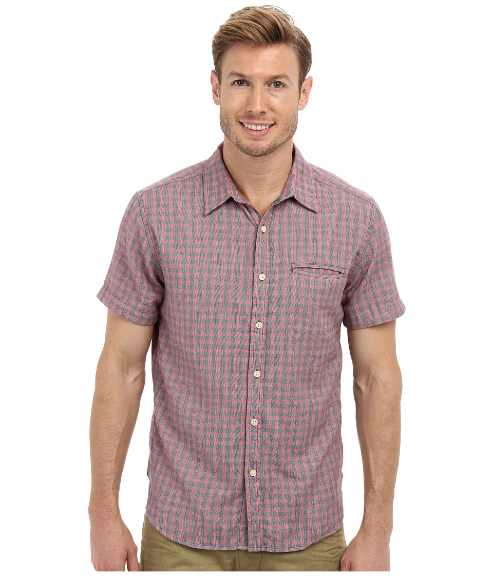 Lucky Brand - Redwood One-Pocket Shirt (Red/Blue Plaid) Men's Short Sleeve Button Up