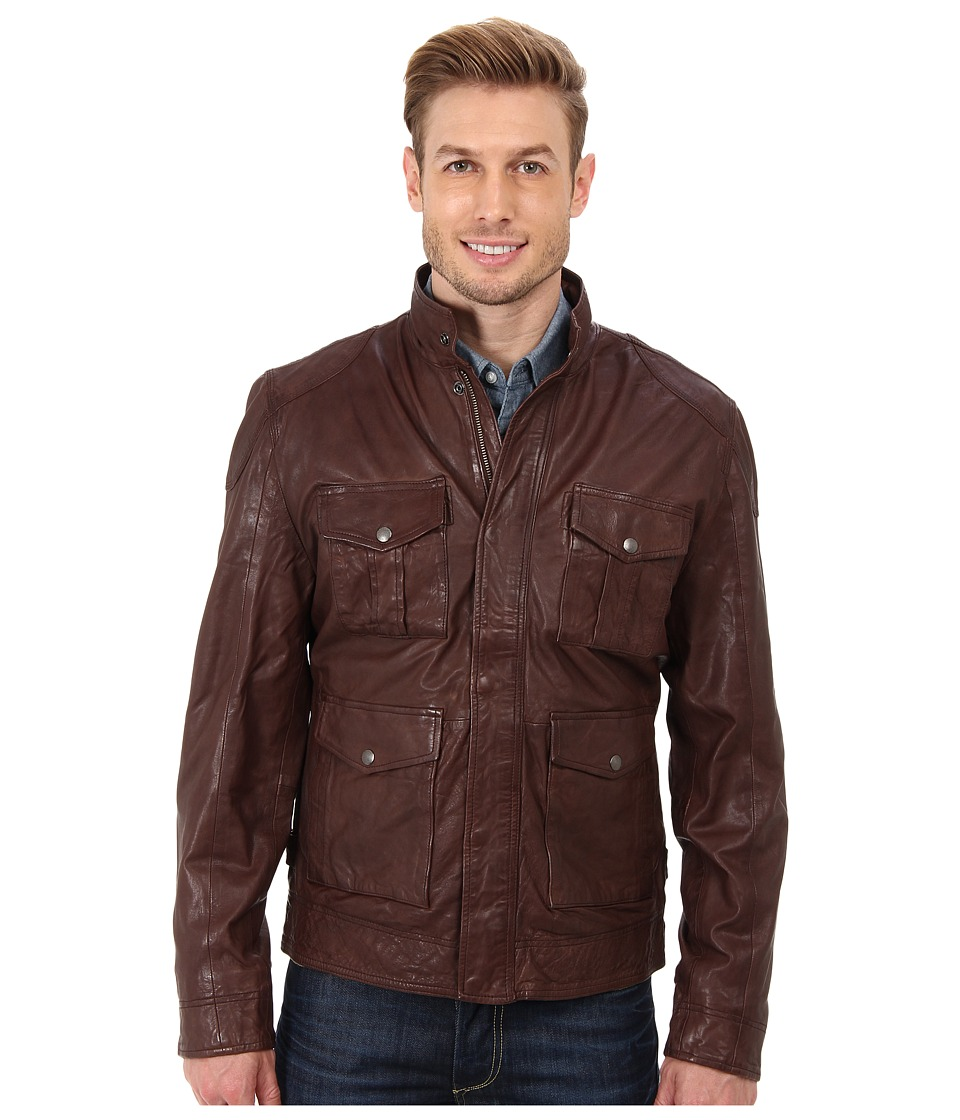 Lucky Brand - Roadster Leather Jacket (Brown) Men's Coat