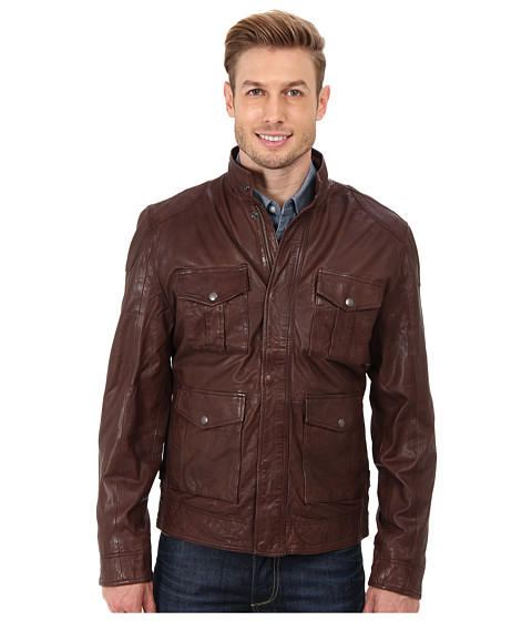 Lucky Brand - Roadster Leather Jacket (Brown) Men