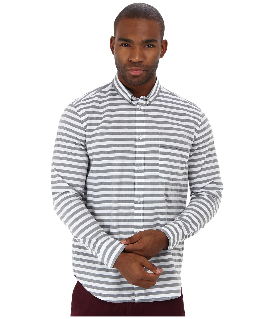 Cheap Monday - Neo BD Shirt (Black/White Stripe) Men's Long Sleeve Button Up