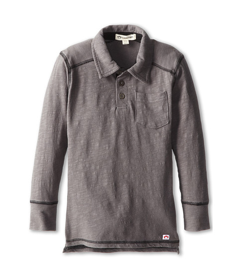 Appaman Kids - Cooper Long Sleeve Slub Jersey Polo (Toddler/Little Kids/Big Kids) (Vintage Black) Boy