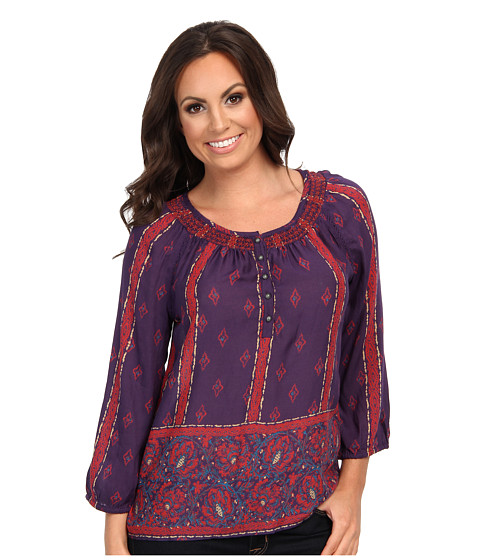 Lucky Brand - Rosie Printed Top (Purple Multi) Women's Clothing
