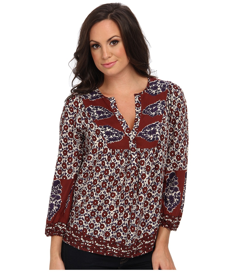 Lucky Brand - Annabelle Mixed Print Top (Brown Multi) Women's Clothing