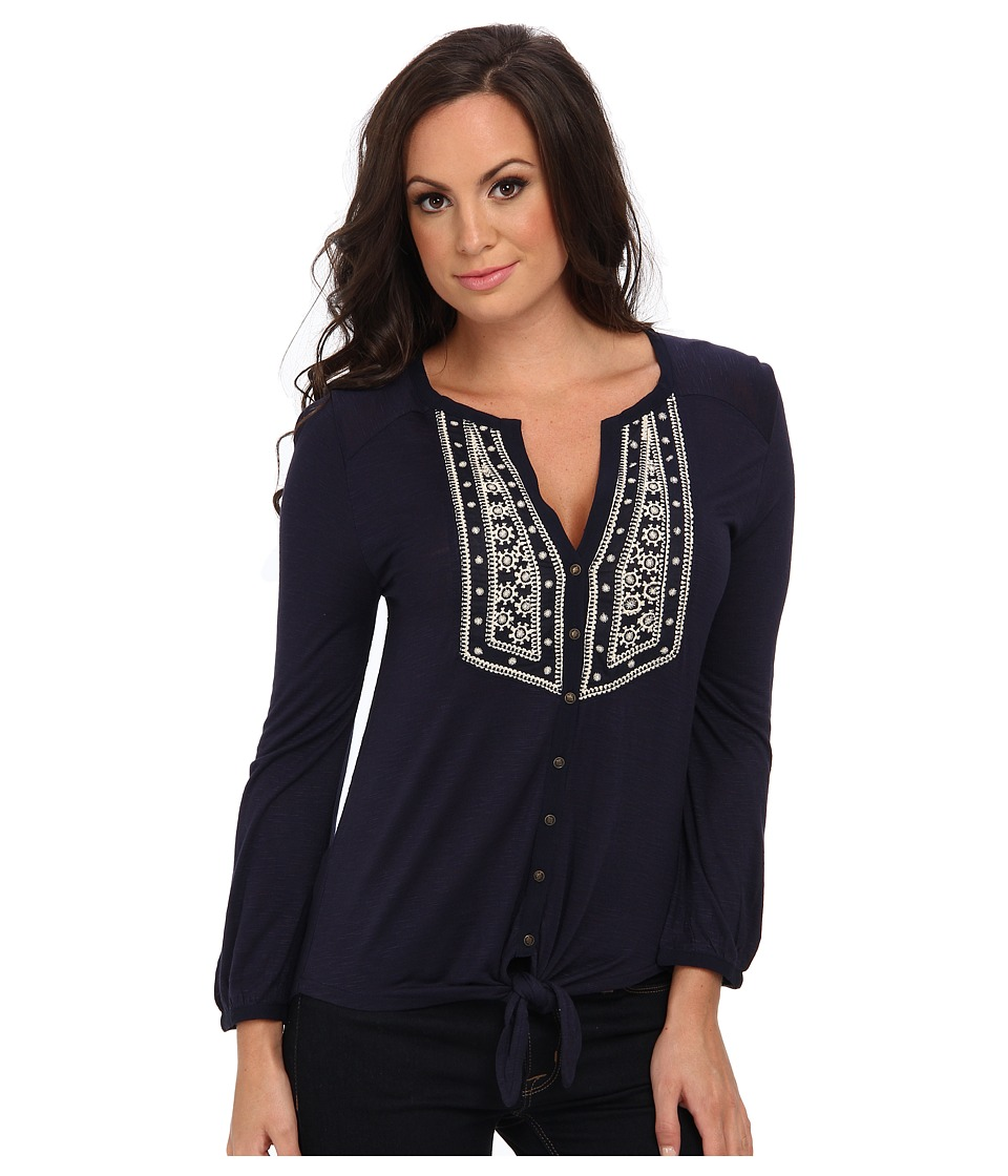 Lucky Brand - Ariana Tie Front Top (American Navy) Women's Clothing