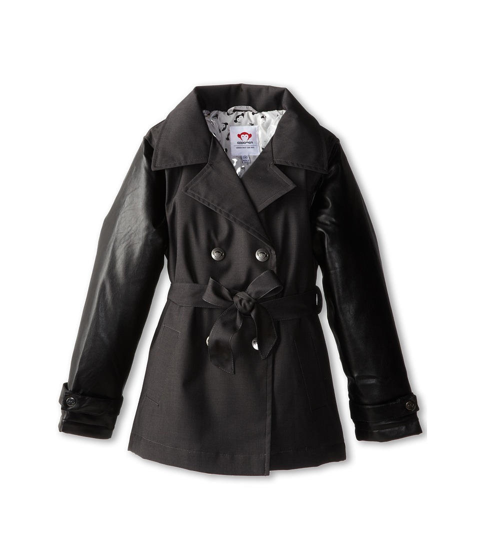 Appaman Kids - Short Trench w/ Lining (Toddler/Little Kids/Big Kids) (Vintage Black) Girl's Coat