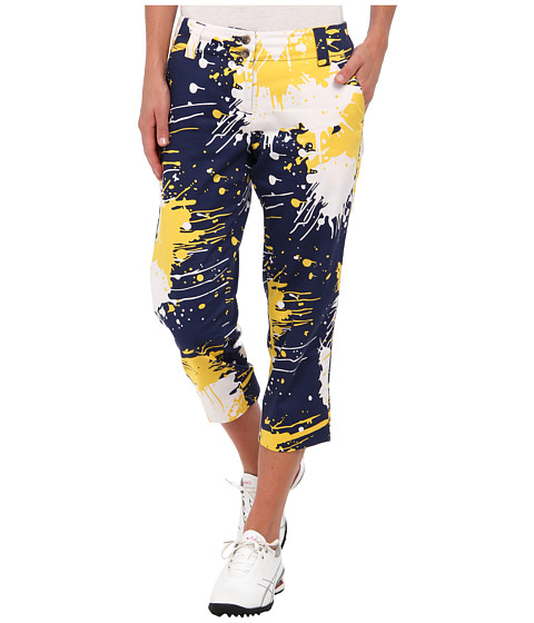 Loudmouth Golf - Blue Gold Paint Capri (Blue/Gold/White) Women's Capri