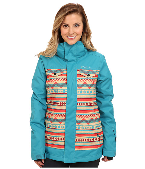 O'Neill - Peridot Jacket (Beige Allover Print/Pink) Women's Coat
