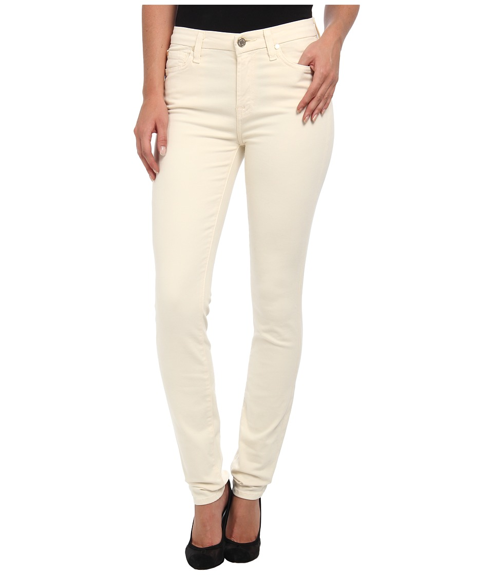 7 For All Mankind - Mid Rise Skinny w/ Contour Waistband in Brushed Sateen (Winter White) Women's Jeans