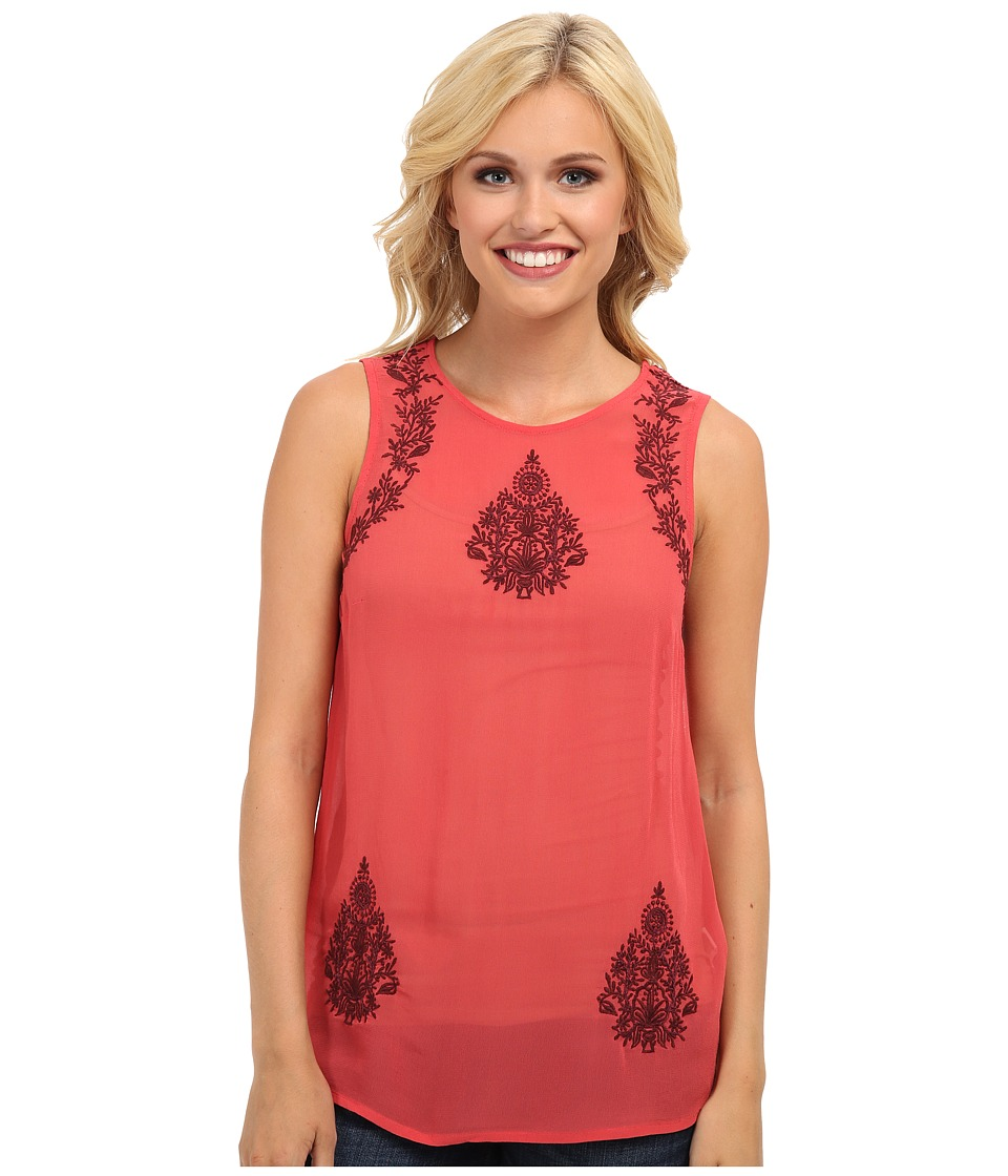 Lucky Brand - Ruby Embroidered Tank Top (Red Multi) Women's Sleeveless