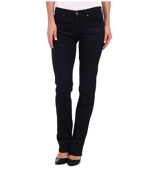 7 For All Mankind - Mid Rise Kimmie Straight in Lilah Blue Black (Lilah Blue Black) Women's Jeans