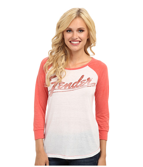 Lucky Brand - Fender Classic Logo Tee (Lucky White) Women's Long Sleeve Pullover