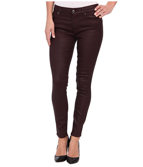 7 For All Mankind - Luxe Jeather Mid Rise Ankle Skinny in Burgundy (Burgundy) Women