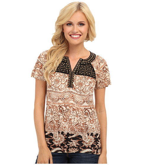 Lucky Brand - Kyra Studded Yoke Top (Multi) Women's Short Sleeve Pullover