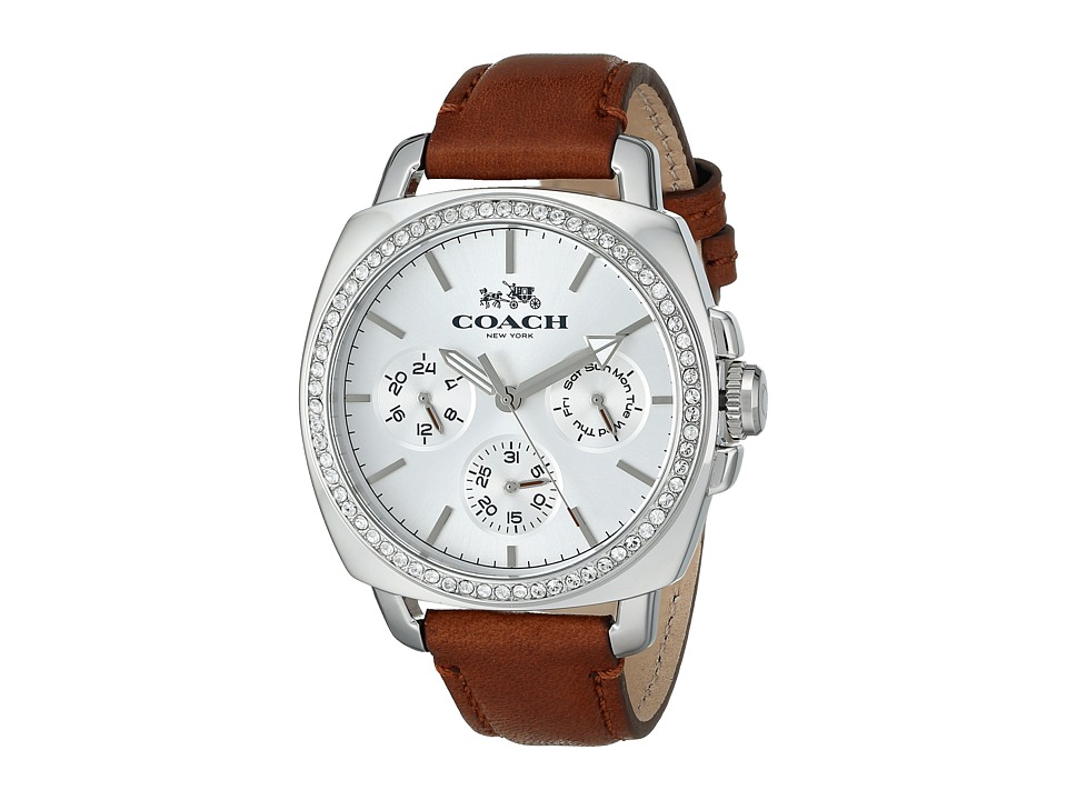 COACH - Boyfriend 40MM Leather Strap Watch (Silver/White) Watches